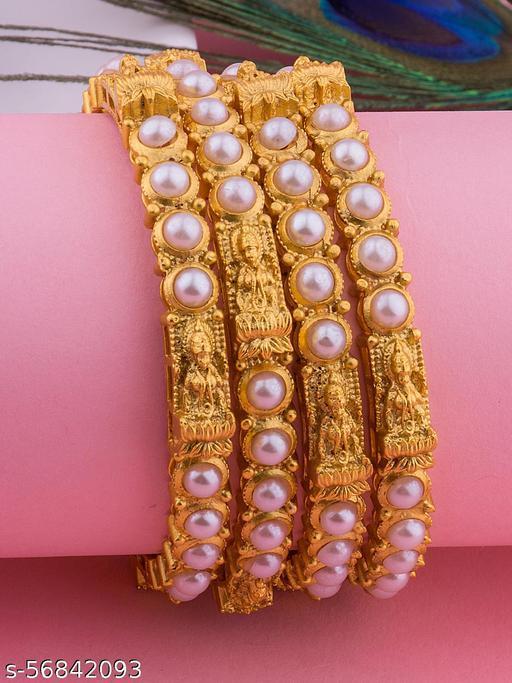 Alankruthi Gold Plated White pearl studded Bangles