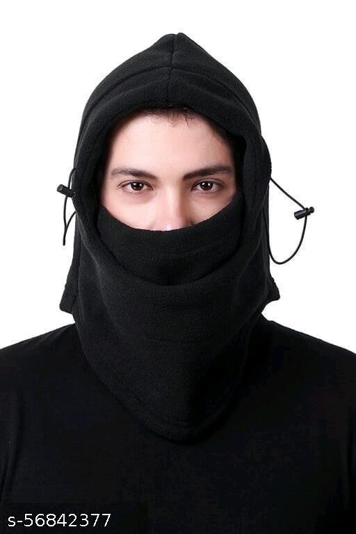 6 in 1 Thermal Fleece Balaclava Hat Hood Police Swat Ski Bike Wind Stopper Mask Caps (Black, Free Size, Pack of 1)