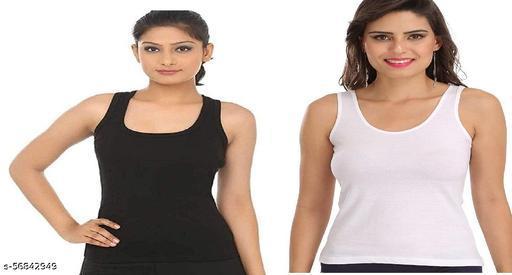 Women's Camisole Wide Strap Plain Solid Black 100% Cotton Material