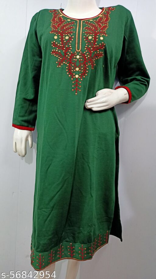 Camellias Stylish Dark Green Shed Embroidered Woolen Kurti for Women