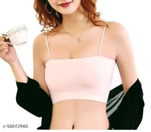 Women's nylon Silk Seamless Padded Bandeau Tube Bra with Sports Bra for Women Padded, Gym wear Women, Free Size
