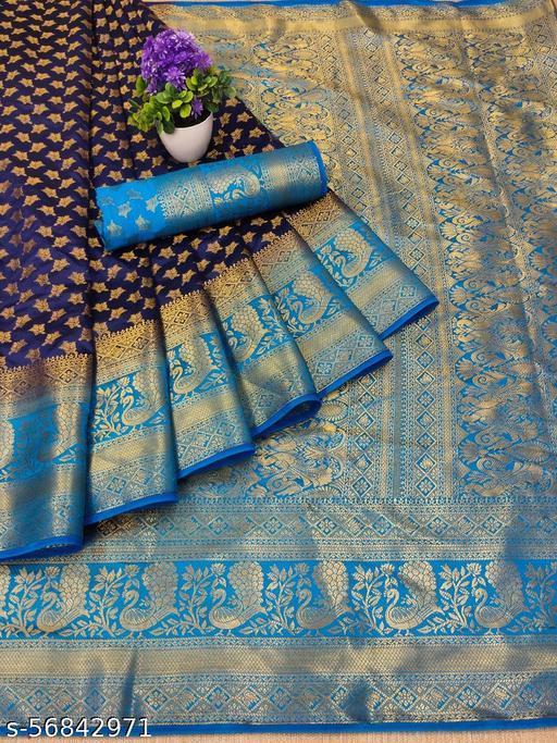 Vernieeva New Navy Blue Colour Kanjeevaram Silk Sarees