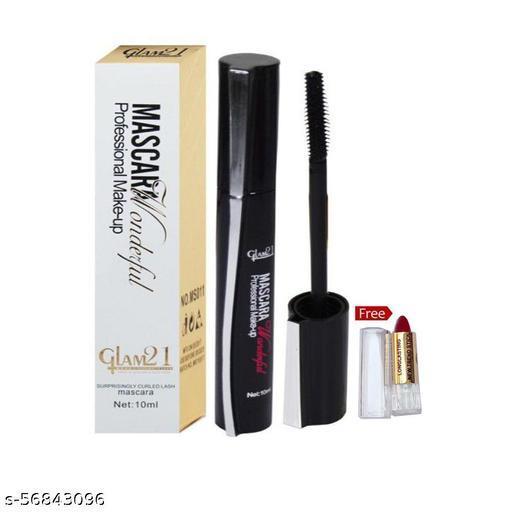 Glam 21 Professional Makeup Mascara (Black) With Lipstick