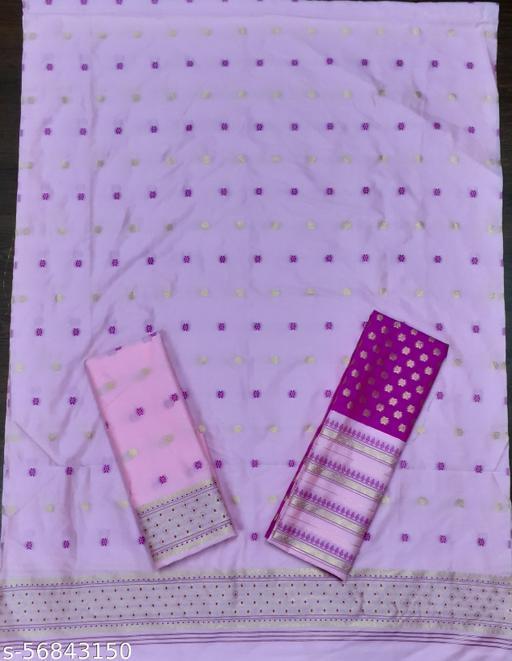 """""""Khushal Weaves"""" Designer Assamese Polypat Mekhala Chador Pink_Rani Sarees"""