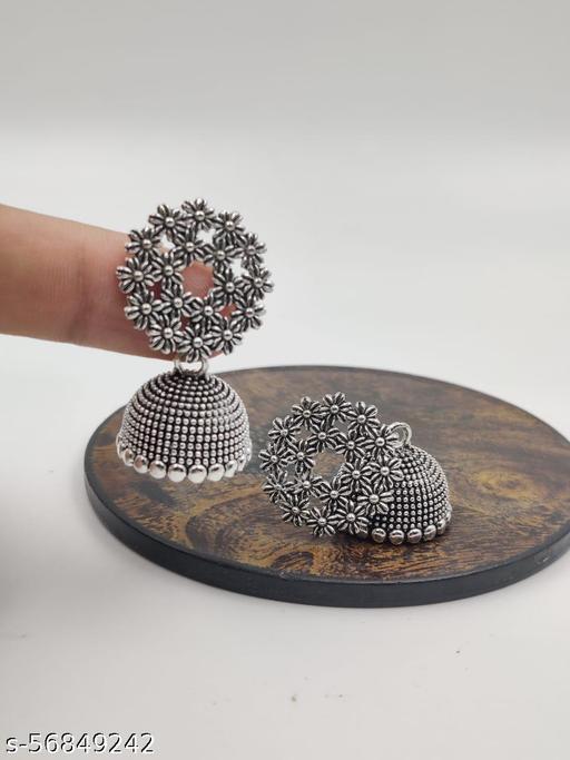 Antique Silver Oxidized Jhumki Earrings for Women