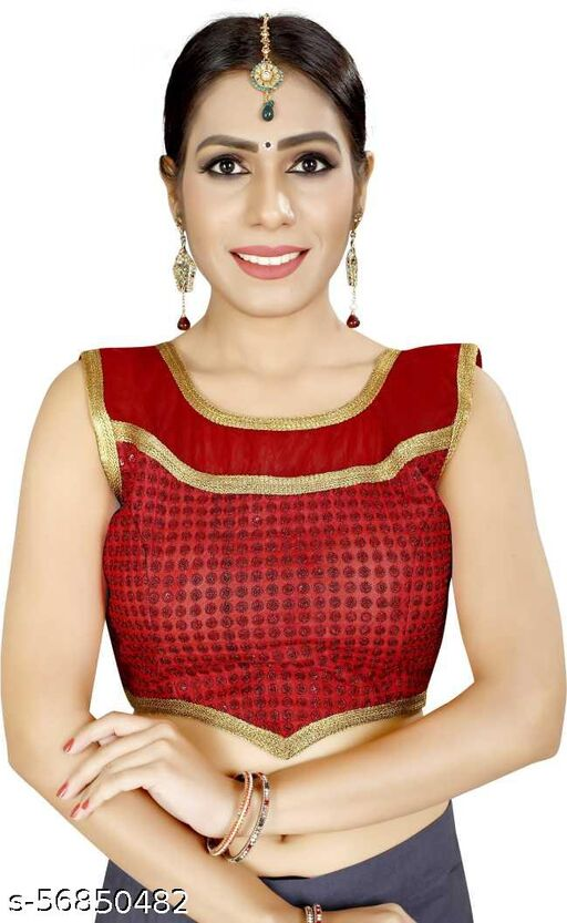 HITARTH FASHION Girl's & Women's Cotton Silk Readymade Round Neck Half Sleeve Blouse (Fit Up To Bust Size : 38 to 42)