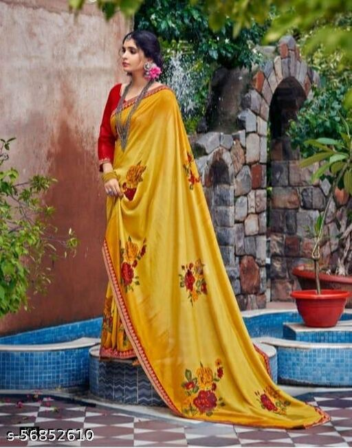 Women's Stylish Wetlees Mustard Saree In Botanical Embroidered Work With Fancy Blouse