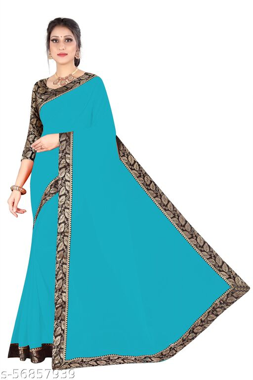 Bittu Fashion Women's Georgette Solid and Heavy Jacquard Border Party Wedding Bollywood Sarees Firozi Color