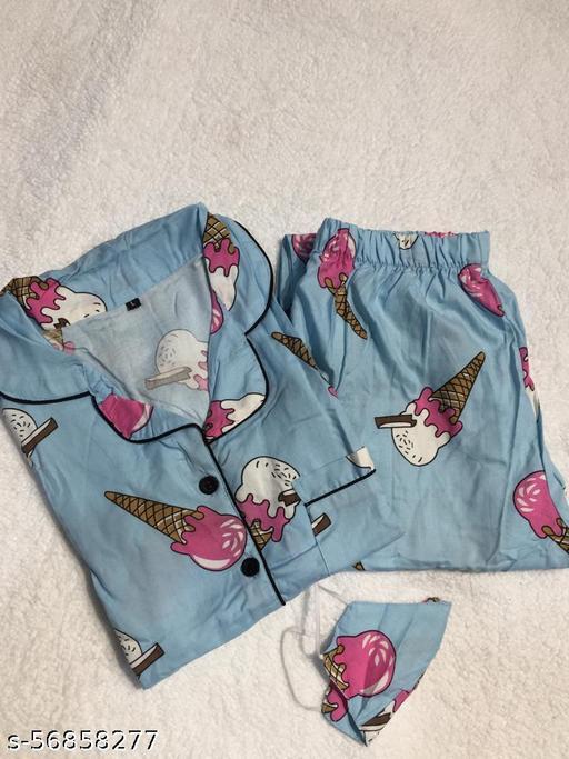 Women Night suit Nighty Rayon Printed Nightwear Dress Shirt and pajama