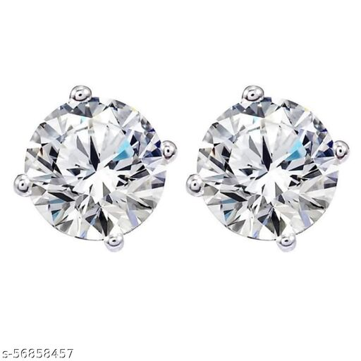 American Diamond Silver Plated Earrings Brass Stud Earring