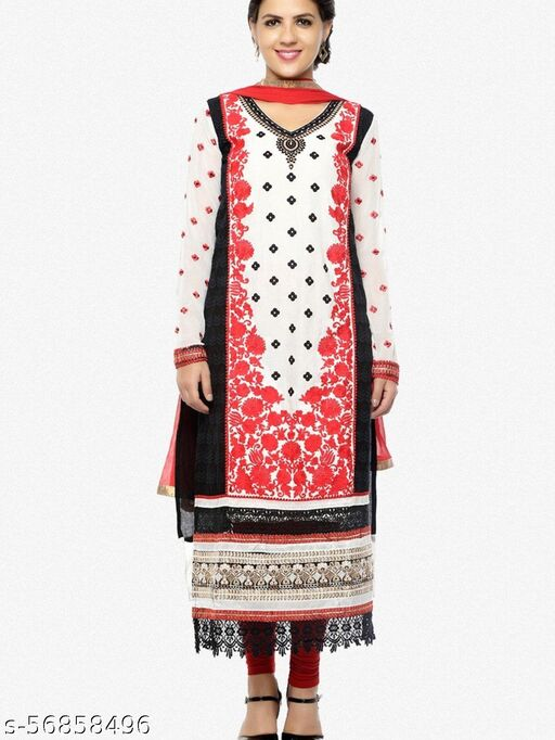 Designer Embroidered Straight Cut In Pure Cotton:atisundar bewitching   in Off White And Red - 5738_30_37013