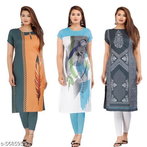 Latest lowest Price Designer Degital Printed Crepe Fabric Kurtis With 3Combo Collacation for Girl's and Women's