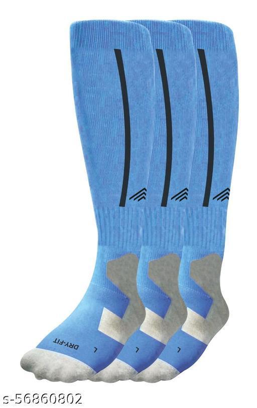 Bamboo Football Socks, Stockings for Men & Women, Knee High Length Superior Grip for Shin Guard, Anti Slip Blister Protection Anti Odour (Sky Blue Pack of 3)