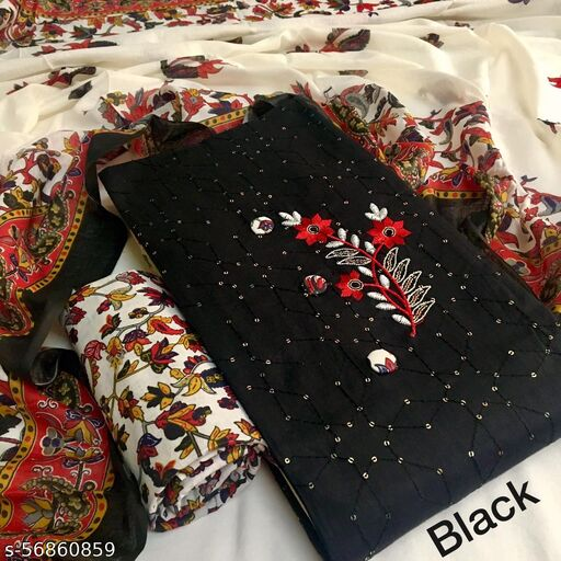 Stylish  Pure Cotton Sequins Embroidered Suit with Mul Cotton Kalamkari Printed Dupatta!!! Suits