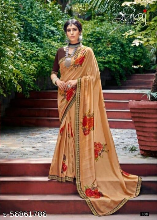 Women's Stylish Wetlees Golden Saree In Botanical Embroidered Work With Fancy Blouse