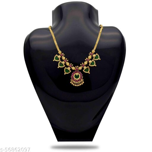 Kollam Supreme Gold Plated Green Traditional Palakka Necklace - 3 Stones