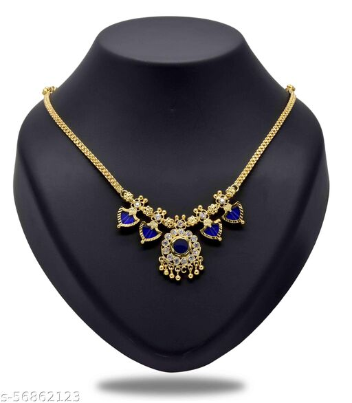 Kollam Supreme Gold Plated Navy Blue Double Palakka Necklace For Girls