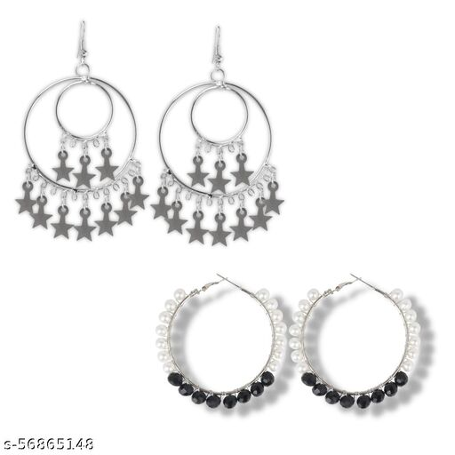 STAINLESS STEEL STARS CHARMS EARRING WITH DUAL TONE HOOP EARRING SET (PACK OF 2 ) FOR GIRLS/WOMEN