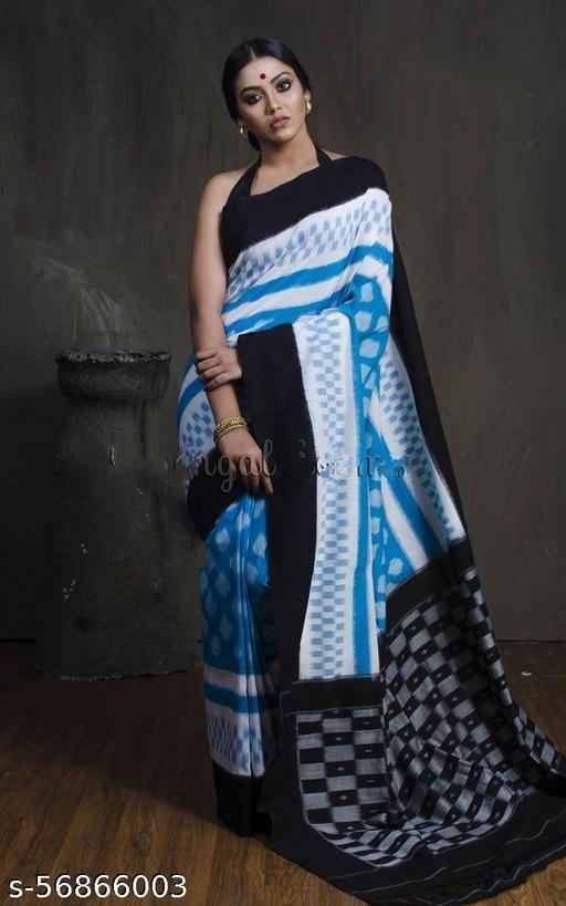 RIFASHION-New Designer Sari In Linen Cotton 5.5  Digital Print And Plain Banglory Blouse 0.8