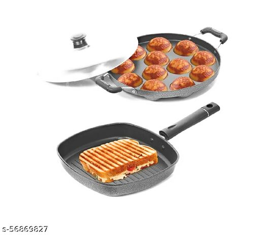 BAHURANI Non-Stick Aluminium 2 Piece Cookwere Set Hemmer-tone Coating Appam Patra 23 Cm and Grill Pan 22 Cm, (Grey/ Silver) pack of 2