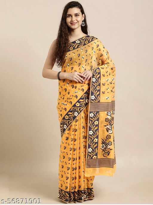 Women's Silk Cotton Woven Design Jamdani Saree