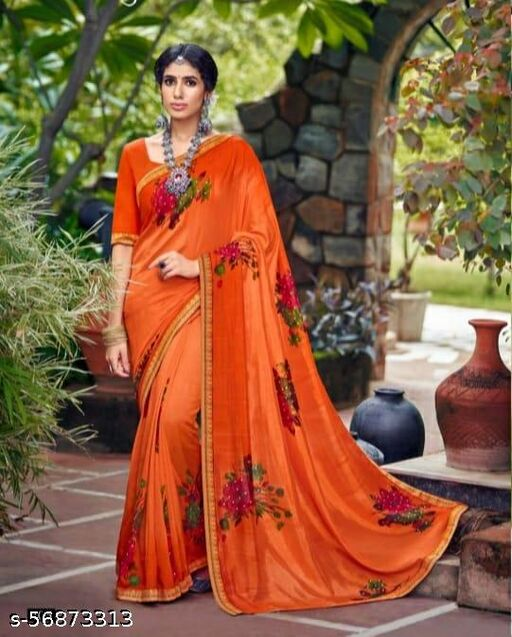 Women's Stylish Wetlees Orange Saree In Botanical Embroided Work With Fancy Blouse