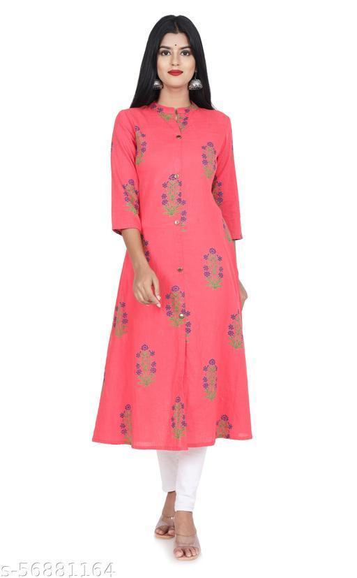 Women Printed Rayon slub A-Line Kurta/Kurti-(Peach)