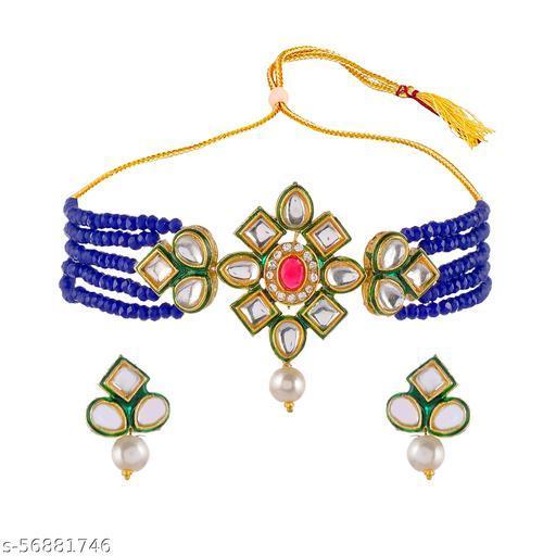 Jaipuri Mart Crystal Shine Beads & Kundan Ethnic Choker Necklace & Earring Set For Women-JCJE--49