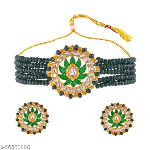 Jaipuri Mart Adorable Multicolour Plated Pearl Choker Necklace Set for Women-JCJE--31