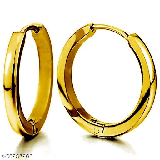 Gadgetsden Classic Gold Stainless Steel Plain Thin Cambered Huggie Hoop Ear Lobe Stud Earrings for Men and Women (20 mm)