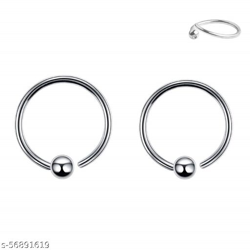 Gadgetsden Unisex stainless-steel 2 Pieces Hinged Segment Rings Septum Nostril Fixed Bead Cartilage Nose Lip Ear Tragus Hellix Piercing Hoop ( Silver )