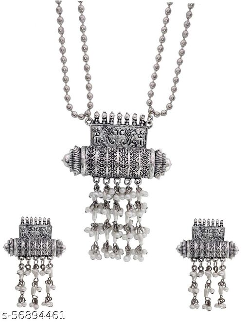 Total Fashion Silver Oxidised Designer Jewellery Necklace Set for Women & Girls