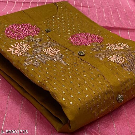 Exclusive Mustard Yellow Colored Casual Embroidered Cotton Slub Dress Material
