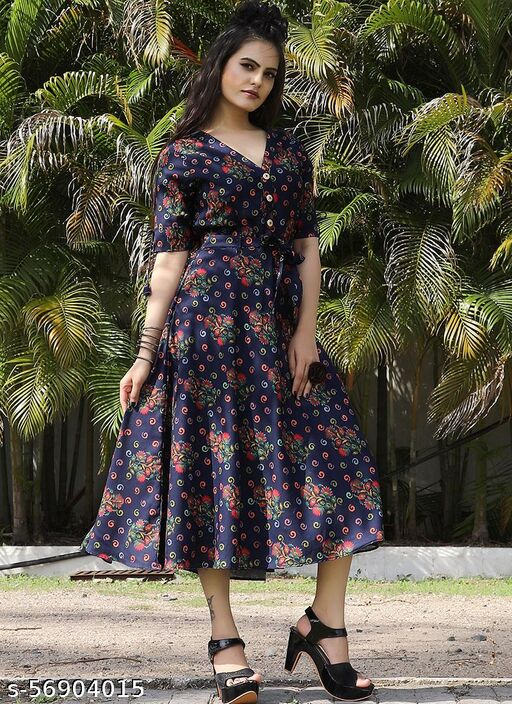Blue Georgette Midi Dress