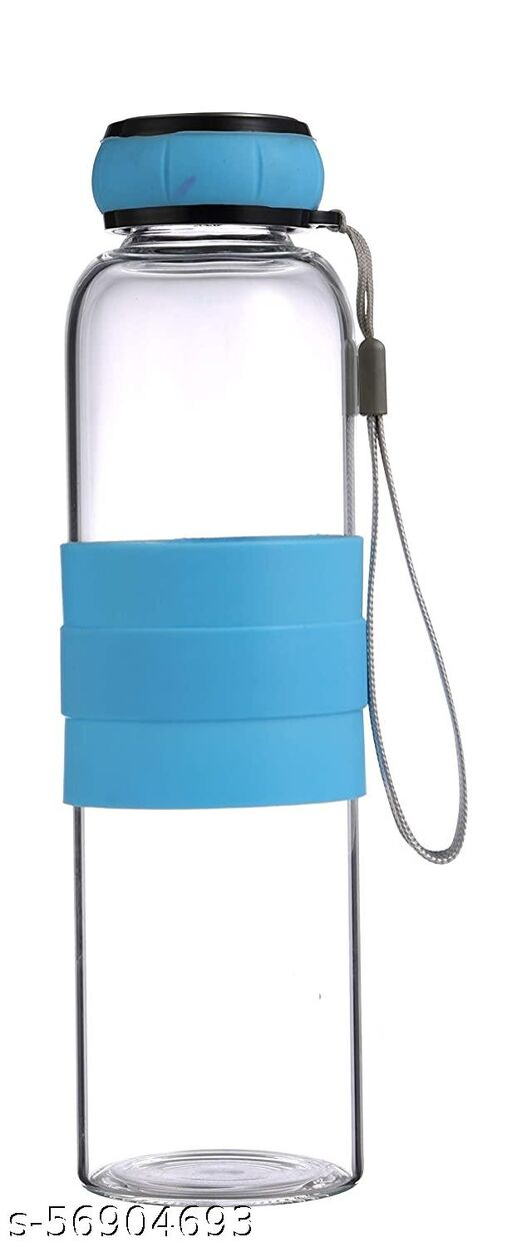 Renberg Borosilicate Glass Water Bottle, 550 ml, Sky Blue, Transparent
