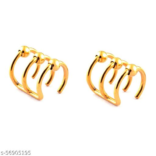 316L SS Ear Cuff Set Non Piercing Cartilage Bead Earring Cuffs Stainless Steel Gold Color Clip-on Accessory