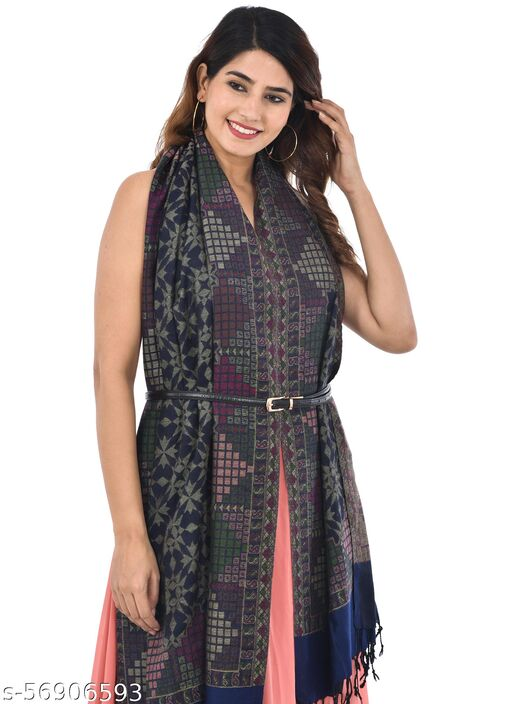 Acro Wool Viscose Blend Woven Kashmiri Scarfs, Stoles