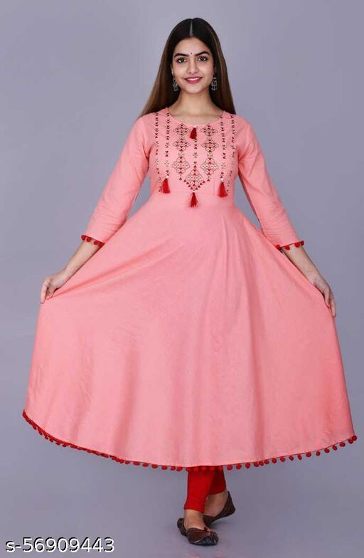 Rayon Solid Embroidery Gown Kurti With Tussle and Pompom Lace