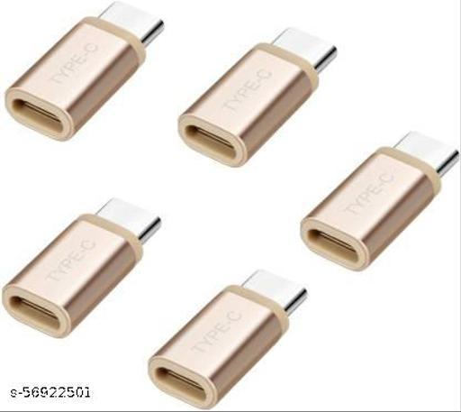 SET OF 5 TYPE C TO MICRO USB CONVERTER Worldwide Adaptor  (Gold)