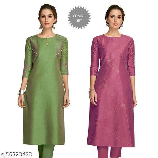 Women Self Design Straight Kurti(Multicolor)