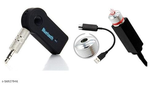 Car Bluetooth Wireless Adapter Dongle 3.5mm Jack Aux Cable Audio Receiver with MIC Speaker Stereo System FM Transmitter Music Receiver Phone Receiver & Car Laser Light