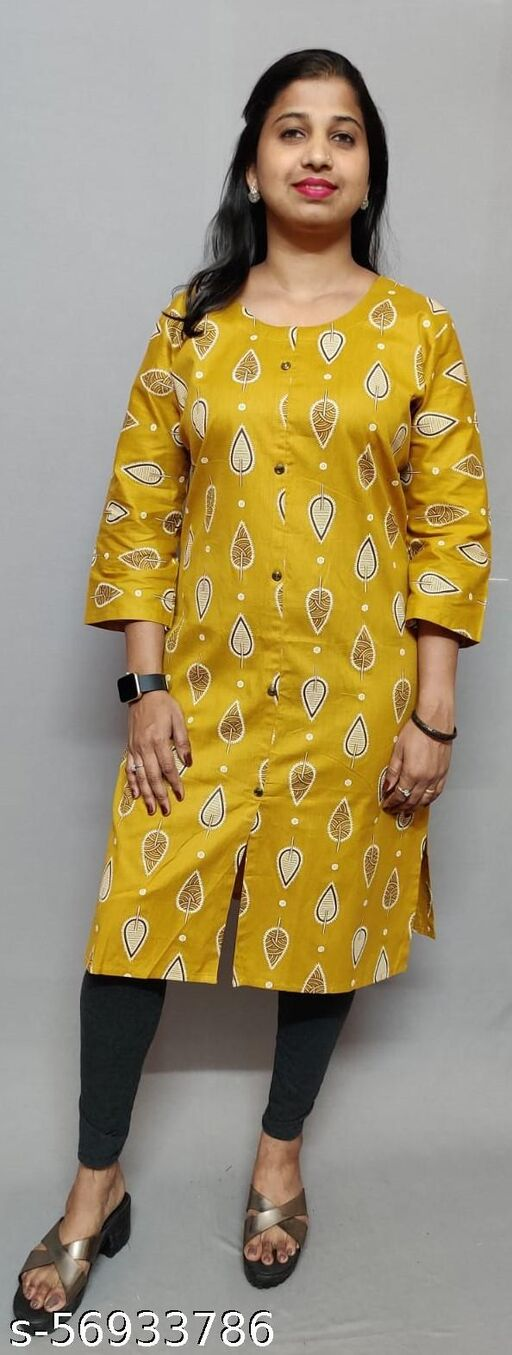 Arjey's Casual , Party , Office , Daily Uses Mustard Only Kurta Cottan Fabric For Women's