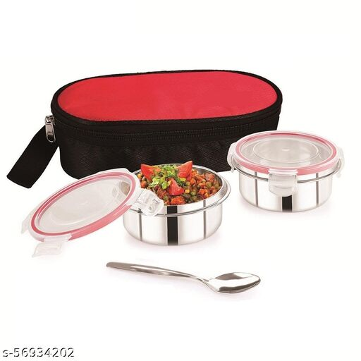 DI select Peppy 2 containers with Spoon Lunch Box | Mini Series Stainless Steel Containers Lunch Box | Air Tight 2 Container Lunch Box(2, RED)