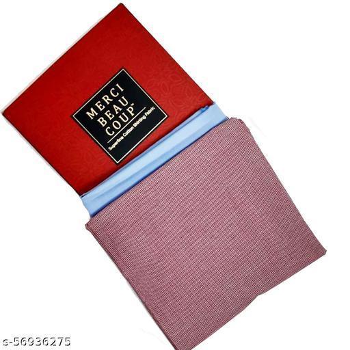 Merci Beau Coup Men's 100% Pure Cotton Unstitched Plain Shirt Fabric 1.6 Mtr Each Length (Pack of 2)
