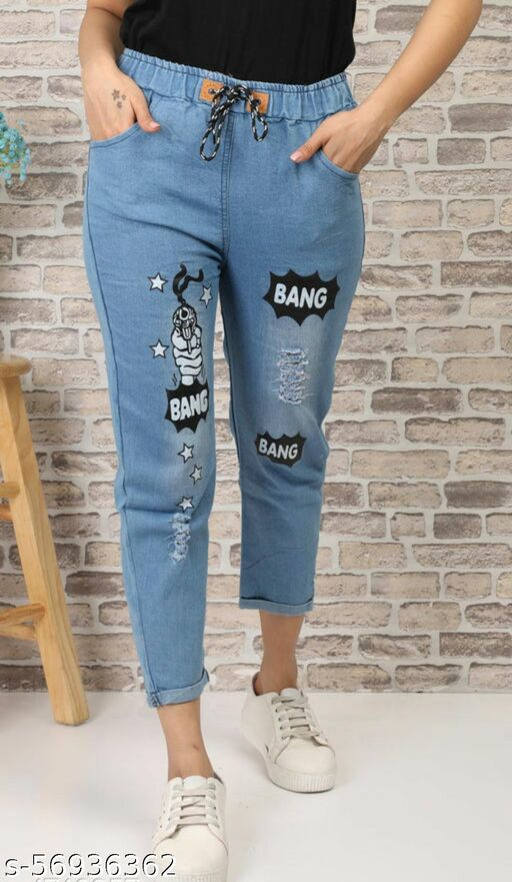 Urbane Stylish Joggers Fit Solid Women Denim Blue Jeans For Girls