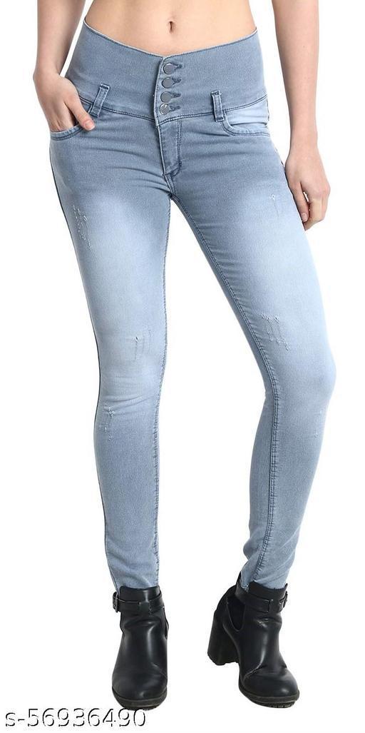 Women's Black Skinny Fit High Rise Clean Look Regular Length Stretchable Denim Jeans