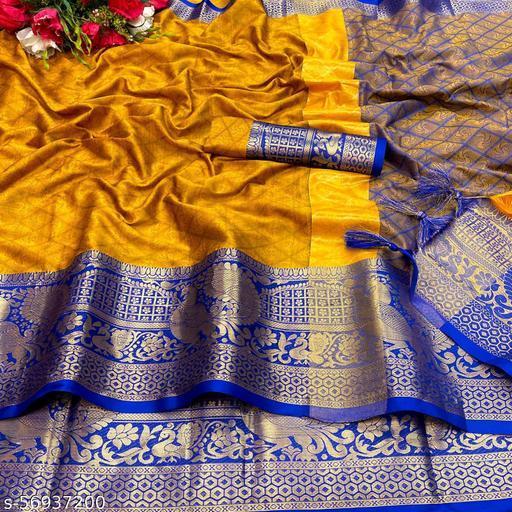 TAANI ENTERPRISE Women's Heavy Kashmira Rich Cotton Silk Saree with Unstitched Blouse Piece