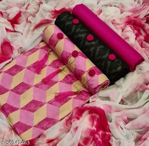 NEW PRINTED 3 IN 1 PINK SALWAR SUIT COMBO DRESS MATERIAL