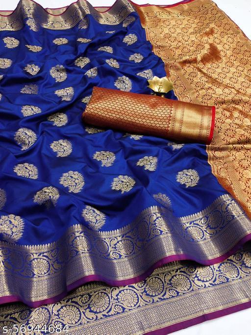 TAANI ENTERPRISE Women's Pure Litchi Silk saree with beautiful gold zari weaving with heavy rich pallu Unstitched Blouse Piece