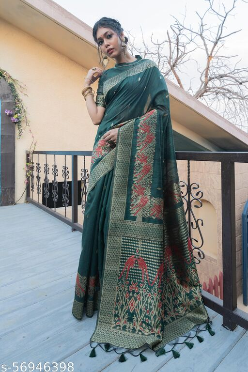 Shangreela Pure tussar silk weaving saree with exclusive zari pallu and fancy tassels and zari border with running  blouse piece